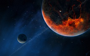 Картинка Звезды, Планета, Космос, Планеты, Fantasy, Planets, Арт, Stars, Space, Art, Спутник, Planet, Фантастика, Satellite, Science …