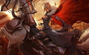 Картинка доспехи, корона, всадница, декольте, Lancer, корсет, рыцари, красный плащ, белая лошадь, Astoria, Fate / Grand …