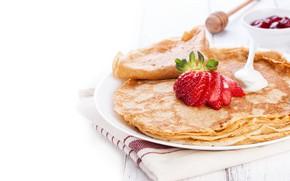 Картинка еда, завтрак, клубника, блины, джем, сметана