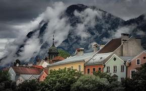 Картинка облака, горы, город, дома, Австрия, Тироль, Инсбрук