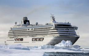 Картинка Зима, Океан, Море, Лайнер, Лед, Антарктика, Судно, Пассажирское судно, Cruise Ship, Passenger Ship, Cruise Line, ...
