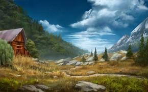 Обои горы, камни, долина, Daily sketch, постройка