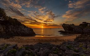 Картинка море, небо, закат, камни, скалы, побережье