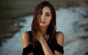 Обои girl, long hair, photo, photographer, blue eyes, model, lips, face, brunette, Natasha, portrait, mouth, strap, ...