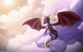 Картинка Небо, Рисунок, Игра, Fantasy, Dragon, Art, Characters, Game Art, Spyro, Spyro the Dragon, Спайро, by …
