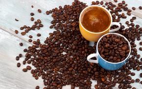 Картинка кофе, чашки, кофейные зерна, wood, coffe
