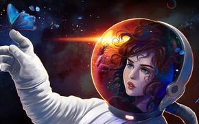 Картинка девушка, космос, фантазия, фантастика, бабочка, скафандр