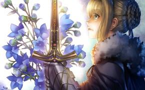 Картинка девушка, цветы, меч, рыцарь, бутоны, сейбер, Артурия Пендрагон, Судьба ночь схватки, эскалибур, Fate / Stay …