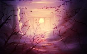 Картинка Закат, Солнце, Рисунок, Ветки, Рассвет, Виадук, Растения, Пейзаж, Art, Sun, Sunset, Sunrise, by Grzegorz Miśkiewicz, …