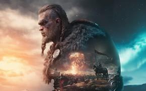 Картинка игры, замок, axe, арт, битва, топор, воины, games, art, викинг, viking, знаменосец, драккары, eivor, valhalla, …
