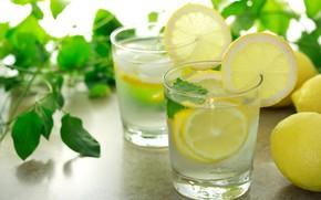 Картинка лимон, стаканы, лимонад