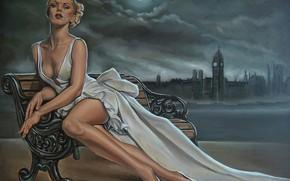 Картинка девушка, рисунок, белое платье