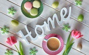 Картинка цветы, кофе, утро, печенье, Anya Ivanova