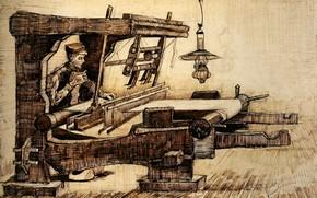 Картинка лампа, Винсент ван Гог, Weaver 2, ткач с сигаретой
