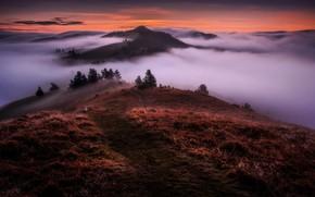 Картинка облака, пейзаж, горы, природа, туман, утро