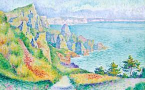 Картинка пейзаж, картина, 1906, пуантилизм, фовизм, Скалы Лонг-сюр-Мер, Jean Metzinger, Жан Метценже