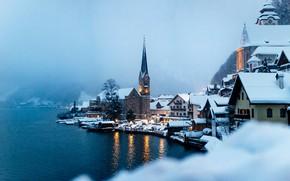 Картинка зима, вода, туман, озеро, дома, Австрия, Austria, Hallstatt, Гальштатское озеро, Гальштат, Lake Hallstatt, Халльштатт