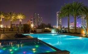 Картинка город, огни, вечер, бассейн, Abu Dhabi, ОАЭ
