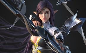Картинка girl, fantasy, cleavage, armor, boobs, breast, blue eyes, artist, elf, digital art, bow, artwork, warrior, …