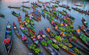 Картинка vegetables, trade, canoes, products, merchandise, foodstuffs