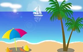 Картинка море, пляж, отдых, пальы