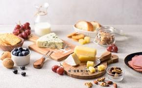 Картинка сыр, виноград, орехи, ассорти