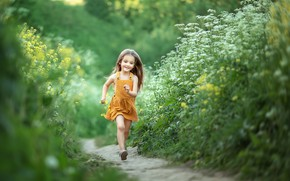 Картинка лето, счастье, детство, волосы, девочка, тропинка, сарафан
