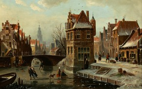 Картинка Dutch painter, голландский художник, oil on canvas, Johannes Franciscus Spohler, Сцена на канале с фигуристами, …