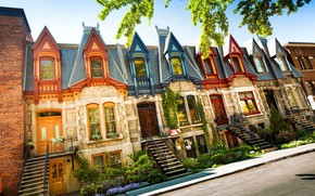 Картинка город, Канада, домики, Монреаль