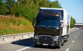Картинка трасса, грузовик, Renault, коричневый, седельный тягач, 4x2, полуприцеп, Renault Trucks, T-series