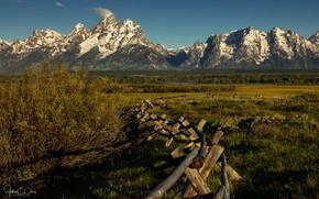 Картинка зелень, небо, трава, солнце, деревья, горы, скалы, забор, поля, Вайоминг, США, леса, Grand Teton National …