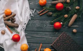 Картинка украшения, шары, Новый Год, Рождество, Christmas, balls, шишки, wood, New Year, decoration, Merry
