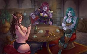 Обои карты, девушки, игра, game, карточная игра, эльфийки, Heartstone