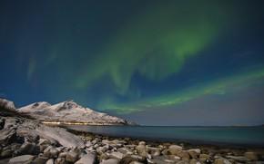 Картинка море, горы, северное сияние, Исландия