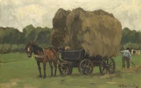 Картинка пейзаж, масло, картина, 1939, Воз с Сеном, Сиверт Николаас Бастерт, Nicolaas Bastert