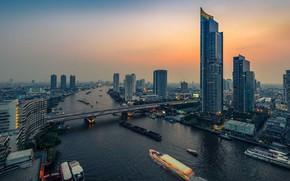 Картинка мост, река, Тайланд, Бангкок, вид сверху