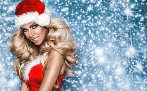 Картинка девушка, праздник, новый год, снегурочка, girl, Christmas, fashion, winter, model, Beauty, фотомодель, Marcin Krezel