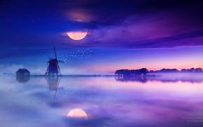 Картинка Отражение, Туман, Ночь, Мельница, Озеро, Луна, Дом, Moon, Night, Fog, Gene Raz von Edler, by ...