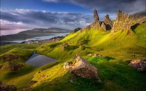Картинка солнце, озеро, скалы, Шотландия, Scotland, фотограф Georg Scharf