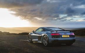 Картинка закат, Audi R8, V10, 2019