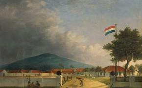 Картинка пейзаж, масло, картина, 1849, Herman Theodorus Hesselaar, Сахарный завод Кедавонг в Пасуруане на Яве