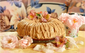 Картинка Лепестки, Розы, Roses, Торт, Cake, Сладость