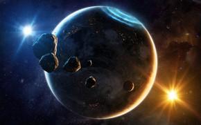 Картинка Звезды, Планета, Космос, Туманность, Звезда, Свет, Планеты, Лучи, Северное сияние, Planets, Star, Арт, Stars, Space, …