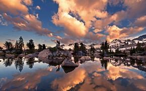 Обои облака, деревья, озеро, скалы, Калифорния, США, John Muir Trail