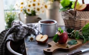 Картинка яблоки, кружка, красные, компот