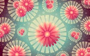 Картинка цветы, фон, графика, текстура, геометрия, боке, digital art