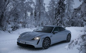 Картинка зима, дорога, снег, деревья, серый, Porsche, 2020, Taycan, Taycan 4S