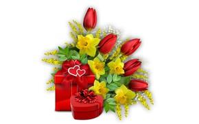 Картинка подарки, сердечки, тюльпаны, нарциссы