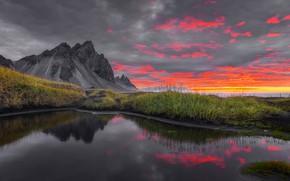 Картинка восход, рассвет, гора, утро, Исландия, Iceland, Stokksnes, Стокснес, Гора Вестрахорн, Фьорд Хорнафьордюр, Vestrahorn Mountain, Hornafjörður