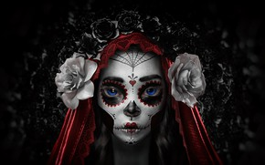 Картинка Цветы, Девушка, Минимализм, Стиль, Глаза, Фон, Calavera, Рендеринг, Día de los Muertos, Dia de los …